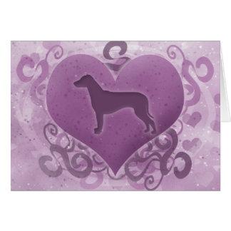 紫色のRhodesian Ridgebackのバレンタインデーカード カード