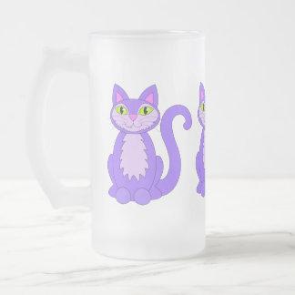紫色のSnaggletoothの猫ちゃん3猫のマグ フロストグラスビールジョッキ
