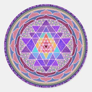 紫色のSri Yantra ラウンドシール