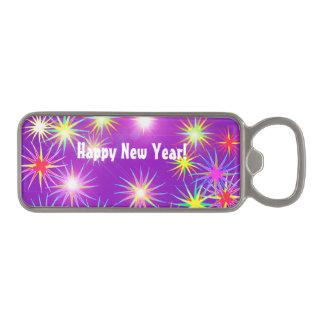 紫色のStarblastの新年 マグネット栓抜き