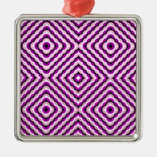 紫色のTakoの目の錯覚の質パターン シルバーカラー正方形オーナメント