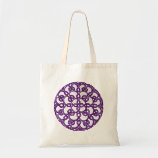 紫色のTattedのレースのビクトリアンなスタイルの円形のデザイン トートバッグ