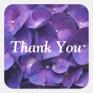紫色のViolletのアジサイのありがとうステッカー スクエアシール