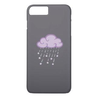 紫色は落下星が付いている雨雲をカールします iPhone 8 PLUS/7 PLUSケース