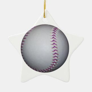 紫色は野球/ソフトボールをステッチします セラミックオーナメント
