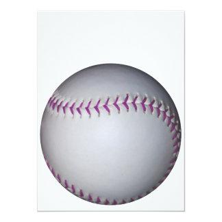 紫色は野球/ソフトボールをステッチします 14 X 19.1 インビテーションカード