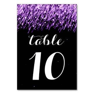 紫色エレガントなテーブル数落下星 カード