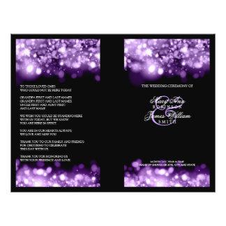 紫色エレガントな結婚式プログラムのきらめくなライト チラシ