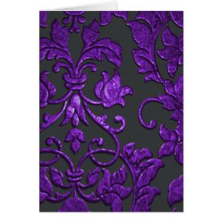 紫色エンボスの金属ダマスク織 カード
