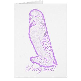 紫色カードのかわいらしい鳥 カード