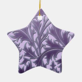紫色キャンデーのアザミ 陶器製星型オーナメント