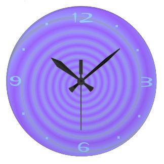 紫色キャンデーの>Purpleのパターン(の模様が)あるな時計 ラージ壁時計