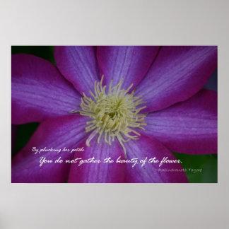紫色クレマチスのRabindranath Tagoreの引用文 ポスター
