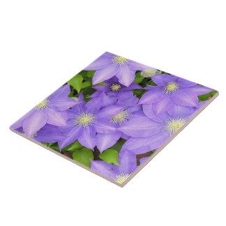 紫色クレマチス(PHOTOG)大きい陶磁器TILE/TRIVET タイル