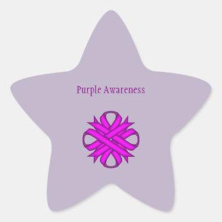 紫色クローバーのリボン 星シール