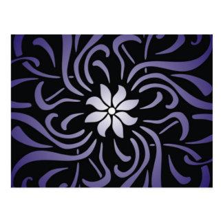 紫色スクロール ポストカード