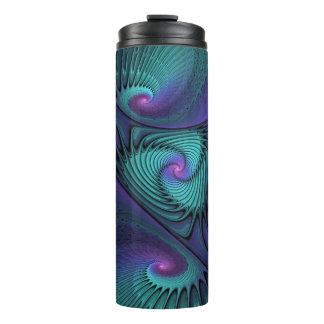 紫色ターコイズのモダンの抽象芸術のフラクタルの芸術に会います タンブラー