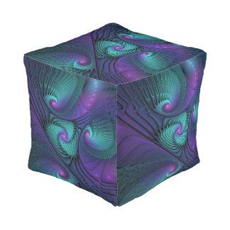 紫色ターコイズのモダンの抽象芸術のフラクタルの芸術に会います プーフ