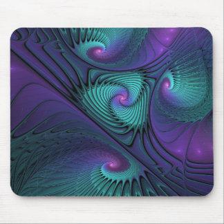 紫色ターコイズのモダンの抽象芸術のフラクタルの芸術に会います マウスパッド