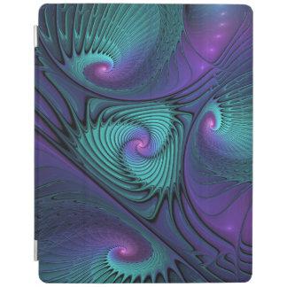 紫色ターコイズのモダンの抽象芸術のフラクタルの芸術に会います iPadスマートカバー