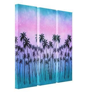 紫色ターコイズPalmtrees キャンバスプリント