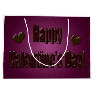 紫色チョコレート幸せなバレンタイン ラージペーパーバッグ