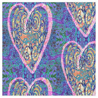 紫色パターンのハート ファブリック