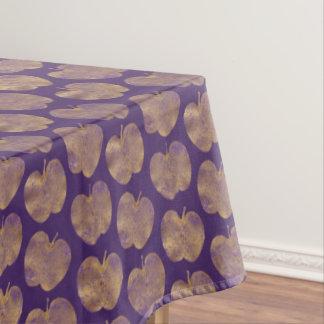 紫色パターンテーブルクロスの金りんご テーブルクロス