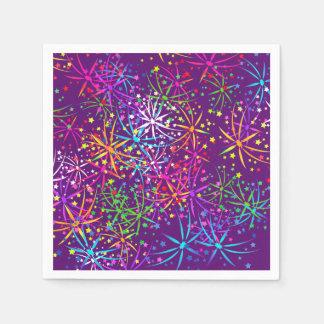 紫色パーティーのナプキンの虹の花火 スタンダードカクテルナプキン