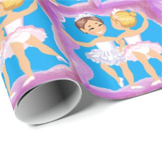 紫色フレームとの小さな女の子のバレエダンサー ラッピングペーパー