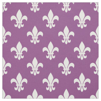 紫色プラム白い(紋章の)フラ・ダ・リパターン ファブリック