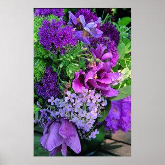 紫色プランター生け花のプリント ポスター