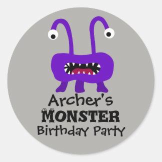 紫色モンスターの誕生会のステッカー ラウンドシール
