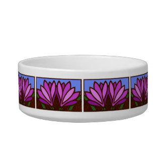 紫色ユリの花模様陶磁器の小さい犬の皿 ボウル
