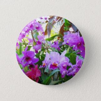 紫色ユリの花Pinボタン 缶バッジ