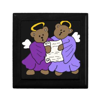 紫色ローブの歌うテディー・ベアの天使 ギフトボックス