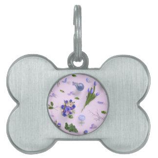 紫色分散させた花 ペットネームタグ