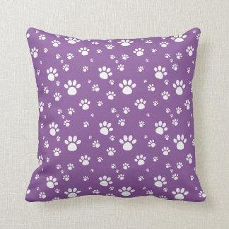紫色動物の足跡パターン クッション