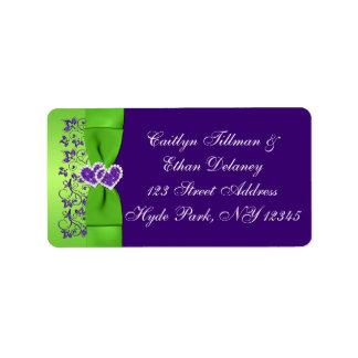 紫色印刷されたリボン緑の結婚式の宛名ラベル 宛名ラベル