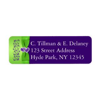 紫色印刷されたリボン緑の結婚式の宛名ラベル 返信用宛名ラベル