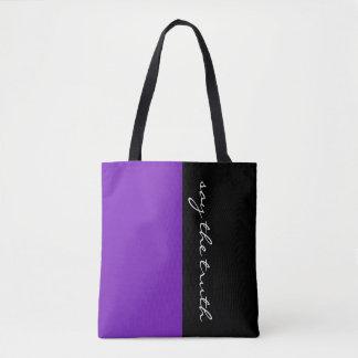 紫色及びあなたの文字を単に着色します トートバッグ
