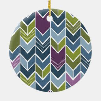 紫色及びオリーブ色のシェブロンの矢のモダンな抽象芸術 セラミックオーナメント