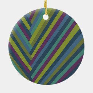 紫色及びオリーブ色の抽象芸術のモダンなストライプの セラミックオーナメント