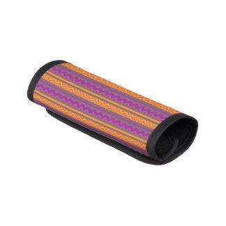 紫色及びオレンジシェブロンのストライプなパターン ラゲッジ ハンドルラップ