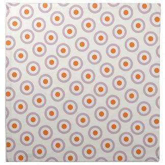 紫色及びオレンジ円の点のレトロのデザイン ナプキンクロス