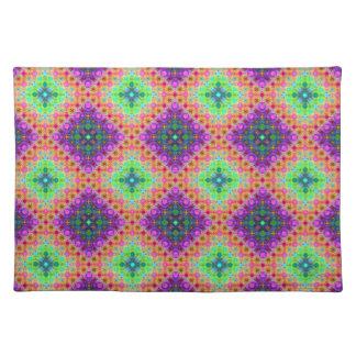 紫色及びライムグリーンのチェック模様のフラクタルパターン ランチョンマット