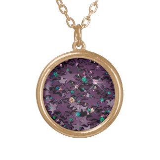 紫色及び多彩のきらめく星の金ゴールドの終わり ゴールドプレートネックレス