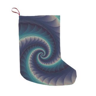 紫色及び水の螺線形のフラクタルのクリスマスのストッキング スモールクリスマスストッキング