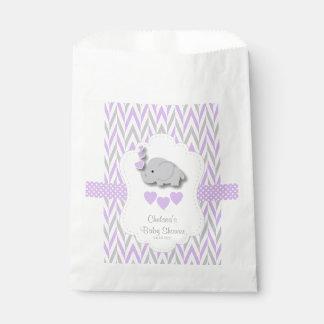 紫色及び灰色象のベビーシャワー2 フェイバーバッグ