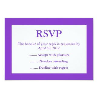 紫色及び白いイベントの応答、RSVPまたは応答カード カード